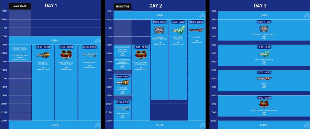 DAY 1~DAY 3メイントーナメントのスケジュール
