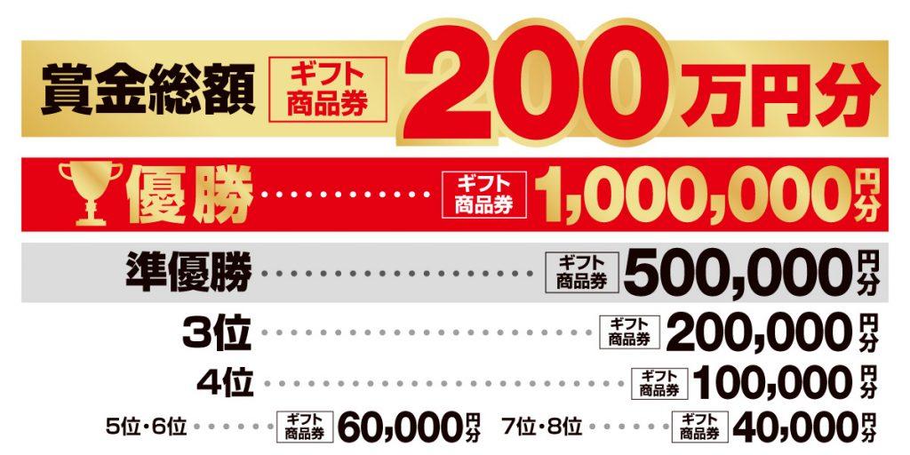 総額200万円分のギフト商品券をかけたトーナメント!!
